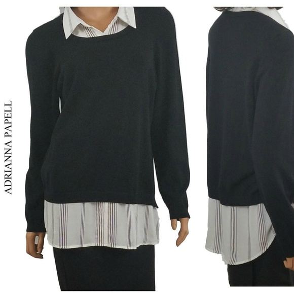 Adrianna Papell Sweaters Layered Sweater Blouse Combo L Poshmark